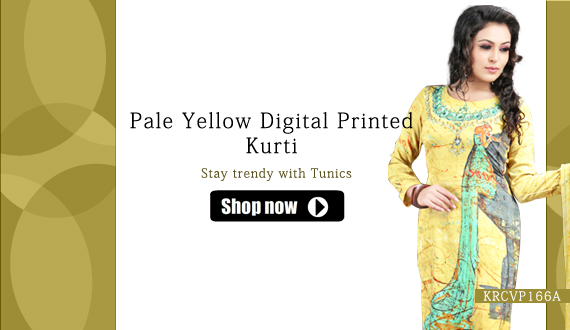 Pale Yellow Digital Prcomted Kurti