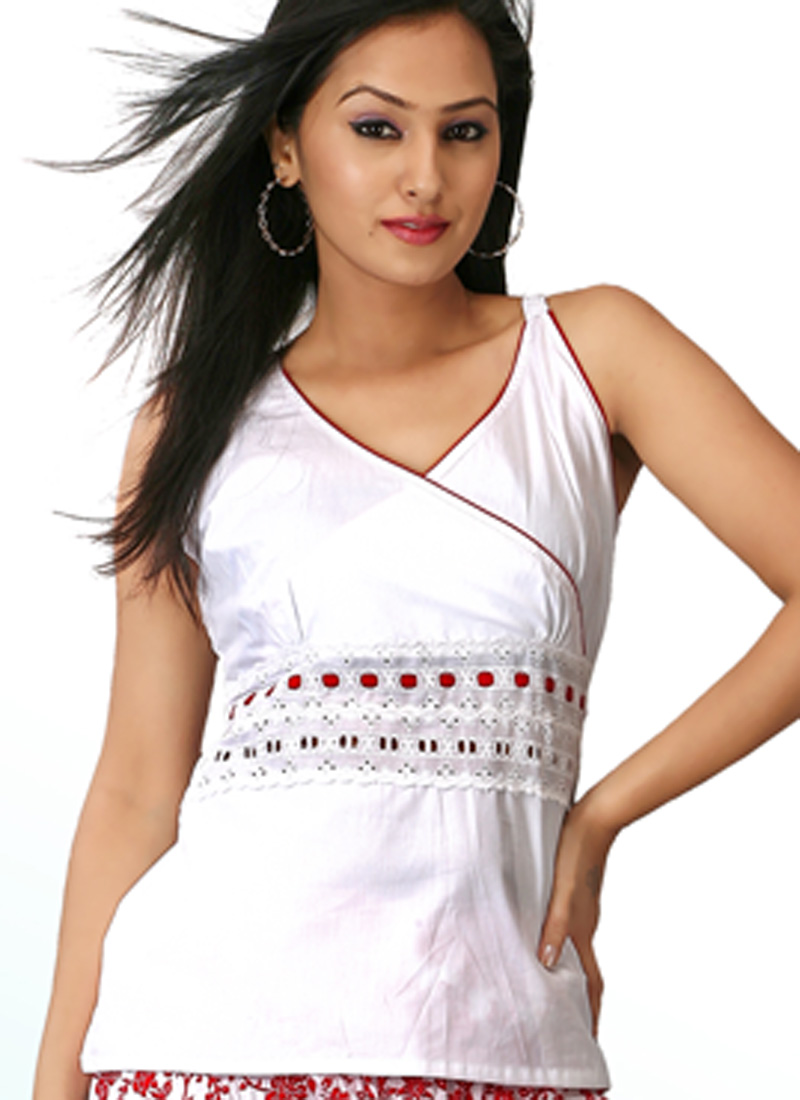 Empire Cut White Pure Cotton Top