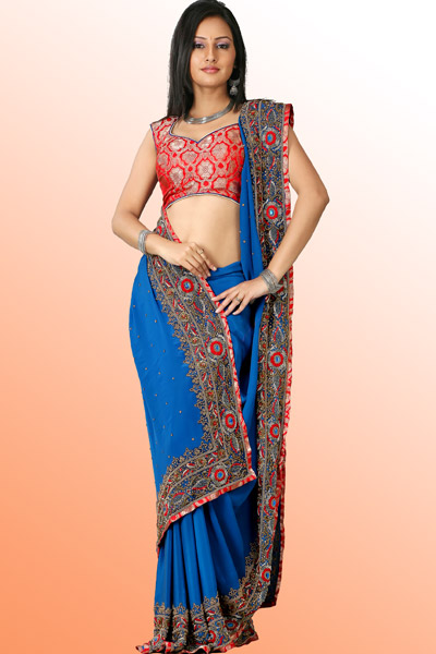 Bollywood Vogue - BV Designer Sarees - Blue Saree With Antique Gold Embroidery