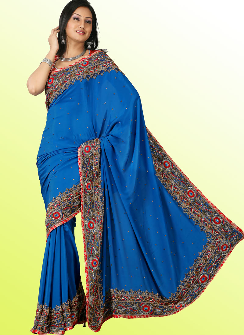 Blue Saree With Antique Gold Embroidery