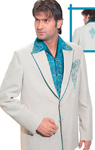 Dull White And Peacock Blue Ornate Suit