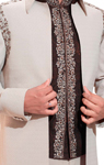Embroidered Cream And Brown Suit