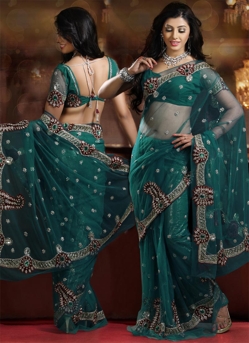 Embellished Teal Blue Net Saree
