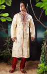 Light Gold Dupion Silk Kurta Pyjama