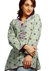 Light Green Shade Floral Tunic