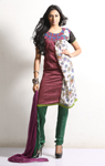 Maroon Flora Printed Silk Cotton Salwar Suit
