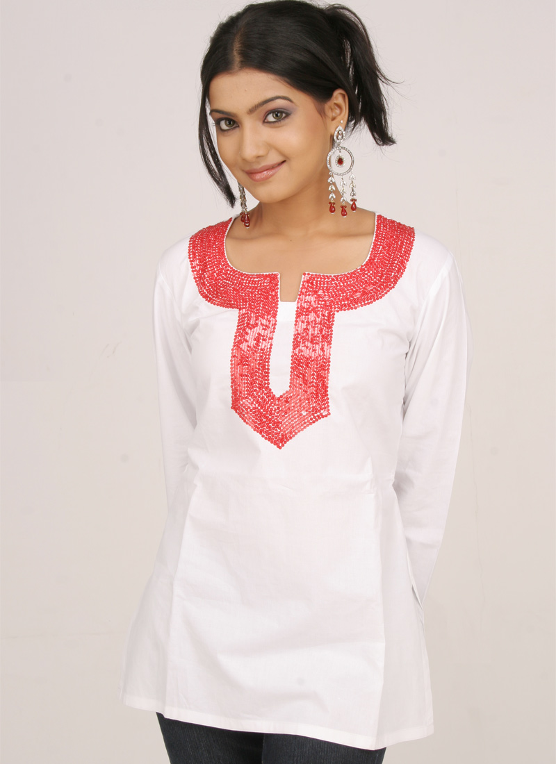 Sequins Adorned White Cotton Kurti
