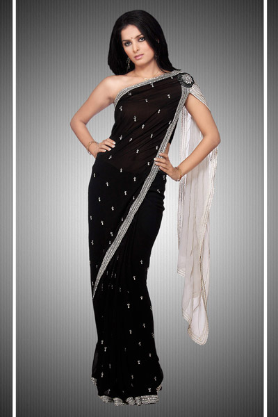 Black and White Party Wear Saree