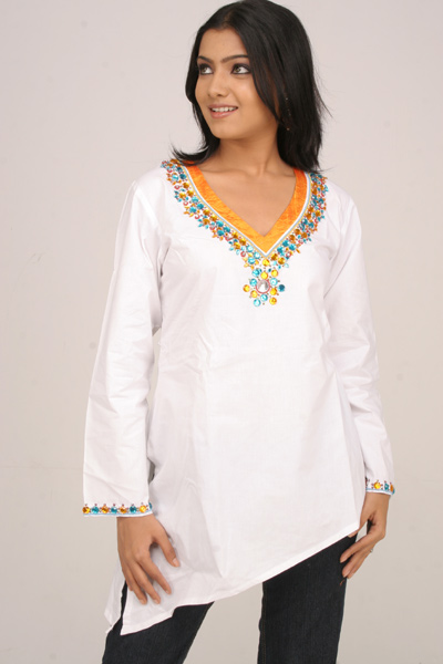 Stone Embroidered White Cotton Kurti