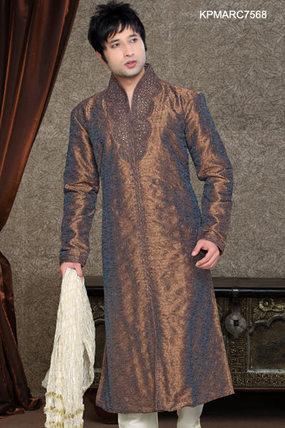 Brown And Off White Embroidered Kurta Pyjama