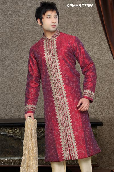 Maroon And Cream Dupion Kurta Pyjama